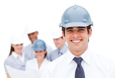 Focus on a male architect wearing a hardhat Stock Image