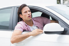 Focus man looking the road Stock Images