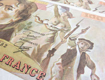 Focus on Marianne over one hundred francs banknote. Focus on  Marianne over one hundred francs banknote Royalty Free Stock Images