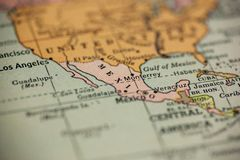 Mexico on Vintage Map. The focus is on Mexico on this vintage map royalty free stock photography