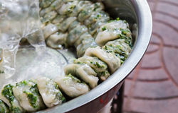 Focus on the nearest steamed chives dumplings Stock Image