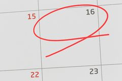 Focus on number 16 in calendar and empty red ellipse. Focus on number 16 in calendar and empty red ellipse for design in your ideas and work concept royalty free stock image