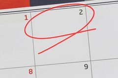 Focus on number 2 in calendar and empty red ellipse. Focus on number 2 in calendar and empty red ellipse for design in your ideas and work concept royalty free stock image