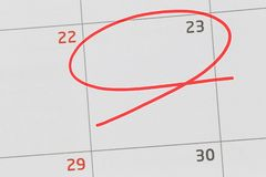 Focus on number 23 in calendar and empty red ellipse. Focus on number 23 in calendar and empty red ellipse for design in your ideas and work concept royalty free stock photo