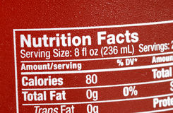 Focus on the nutrition facts Stock Photo
