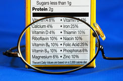 Focus on the nutrition facts from a box of food Stock Image