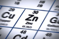 Free Focus On Zinc Chemical Element - Important Mineral Salt For Proper Nutrition - Concept Image With The Mendeleev Periodic Table Stock Photo - 161759240