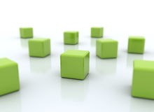 Focus - Organizing green cubes. Organizing 3d rendered cubes green business concept Stock Images