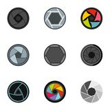 Focus photo icons set, flat style. Focus photo icons set. Flat illustration of 9 focus photo vector icons for web Royalty Free Stock Photos