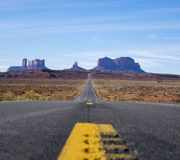 Focus Photo of Roadway Going Towards Mountains Stock Photography