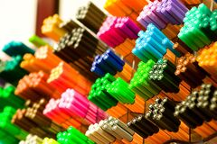 Focus Photography of Colored Pens Royalty Free Stock Photos