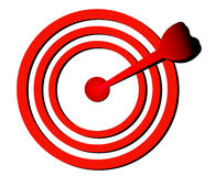 Focus point. Red arrow in white background Stock Photos