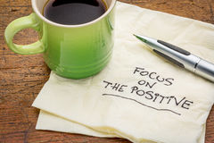 Focus on the positive on napkin Royalty Free Stock Images