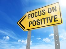 Focus on positive sign. On blue sky background,3d rendered Stock Images