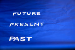Focus on present timing. Focus on present word between past and future royalty free stock photography