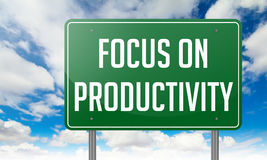 Focus on Productivity - Green Highway Signpost. Royalty Free Stock Photo