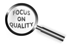 Focus on Quality Magnifying Glass illustration Royalty Free Stock Photos