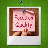 Focus On Quality Note Photo Shows Excellence And Satisfaction Gu Royalty Free Stock Photography