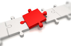 Focus on a red puzzle pieces Stock Photo