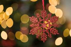 Focus on red star christmas decoration. On twinkling christmas tree stock photography