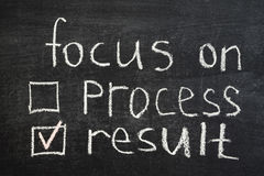 Focus on result. Concept phrase handwritten on blackboard stock photos