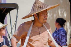 Focus rickshaw driver Thai style  on the street in thailand ancient simulation park kanchanaburi. Stock Images