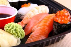 The focus of salmon caviar ikura sushi Stock Image