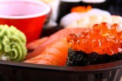 The focus of salmon caviar ikura sushi menu Stock Photo