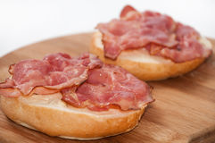 Focus on a sandwich with grilled ham Royalty Free Stock Photography