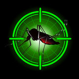 Focus scan Aedes Aegypti mosquitoes with stilt target. sights signal. for institutional related sanitation and care Royalty Free Stock Photos