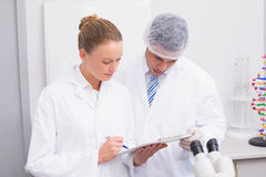 Focus scientist team looking at clipboard. In the laboratory Royalty Free Stock Photo