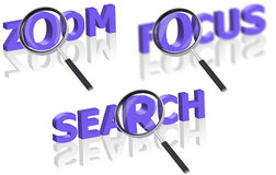 Focus search zoom magnify lens magnifying glass Stock Photos