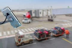 Security CCTV camera or surveillance system with airport tarmac on blurry background. Focus on security CCTV camera or surveillance system with airport tarmac on stock photo