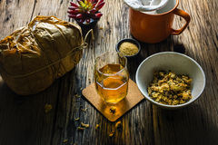 Focus Spot Chrysanthemum Tea and dried chrysanthemum on an old wooden table. Royalty Free Stock Photos