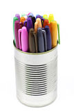 A can of colored pens Royalty Free Stock Images
