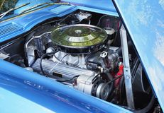 Focus Stacked Image of a American V8 Engine in a 60s Model Car royalty free stock photo