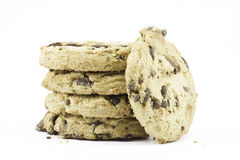 A stack of chocolate chip cookies isolated against white Royalty Free Stock Photography