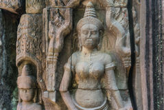 Focus of Stone murals and sculptures in Angkor wat Stock Photo