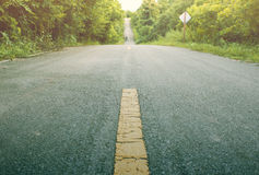 Focus on the Street. forest country road, vintage style Stock Photography