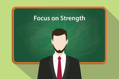 Focus on strength white text illustration with a beard man wearing black suit standing in front of green chalk board Royalty Free Stock Photos