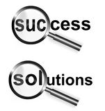 Focus Success Solutions. An image  for the concept of focus on success or solutions. It shows two magnifying glasses with the word success and solutions shown Stock Images