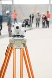 Focus survey camera and engineer team Royalty Free Stock Photos