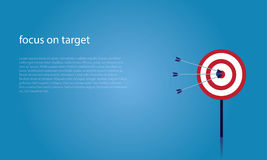 Focus on target business goals concept. Vector illustration. Business target goals concept. Hit on target goals with arrows Stock Images