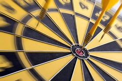 Focus of target. Focus on target center of dartboard with zoom filter Royalty Free Stock Photography
