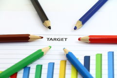 Focus on target and graph Stock Image