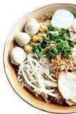 Focus Thai Noodles soup in bowl. Stock Images