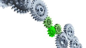 Focus on Three Green Gears with Some Gray and blurred Gears in Infinite Rotation. On a white background royalty free illustration
