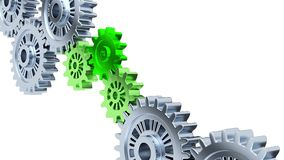 Focus on Three Green Gears with Some Silver Gears in Infinite Rotation. On a white background vector illustration