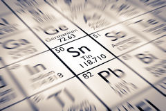 Focus on Tin Chemical Element. From the Mendeleev Periodic Table royalty free stock images