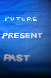 Focus to future. Wording on blue background Stock Images